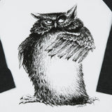 """Wise Owl"" Men's / Unisex 50/50 Raglan Baseball Tee"
