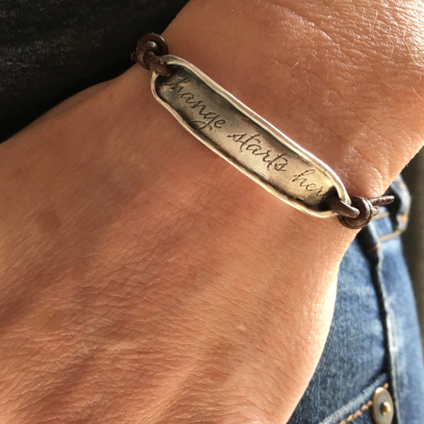 Boho rustic bracelet with inspirational phrase adjustable fit bracelet