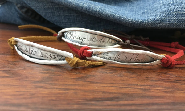 Sterling silver inspirational words of wisdom bracelet made in Canada