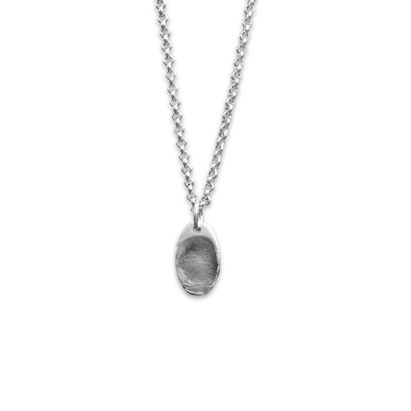 sway silver mini oval fingerprint charm