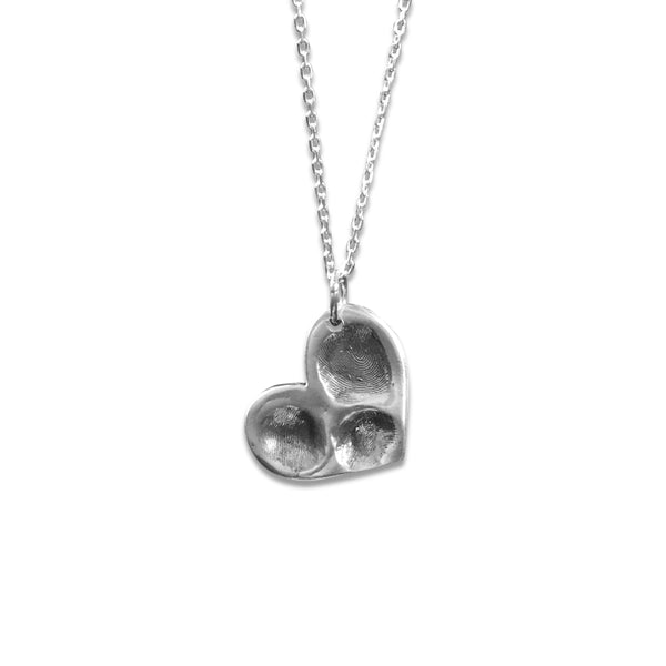 Sway Silver Large Heart Fingerprint Pendant