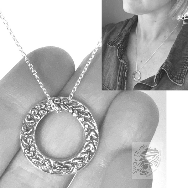 Circle of Laurel Pendant Silver Necklace - Sway Silver