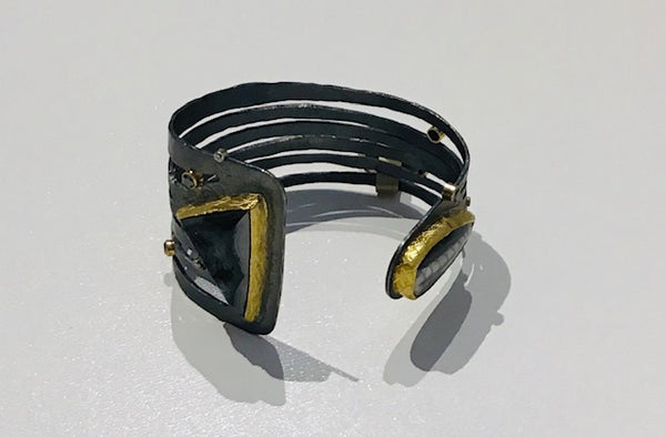 ARGENTIUM SILVER CUFF W. BLACK DRUSY , FOSSIL AND DIAMONDS
