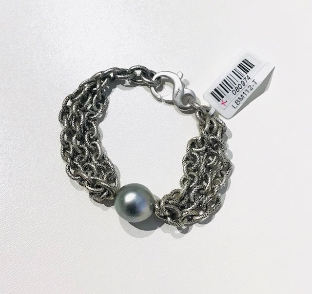 TRIPLE CHAIN BRACELET WITH TAHITIAN PEARL