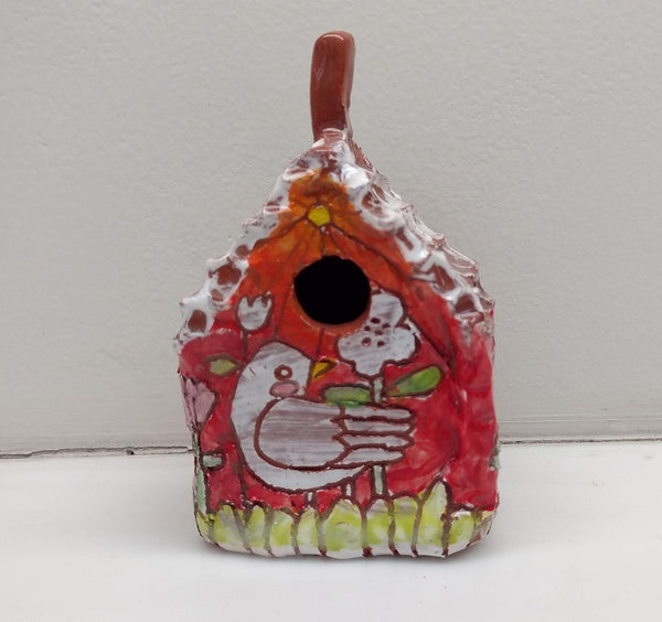 CALLIE LUHRMAN CERAMIC BIRDS HOUSE