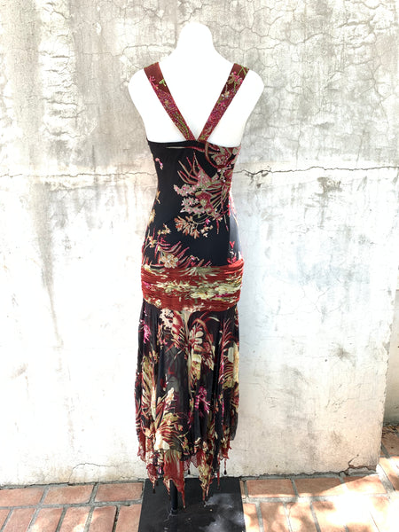 Brown Hibiscus Floral Dress