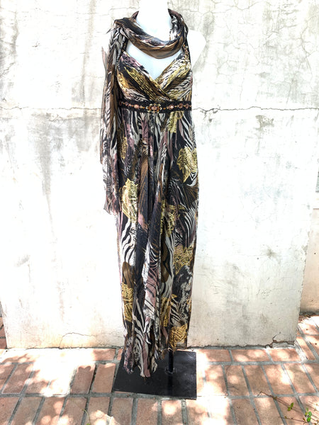 ANIMAL PRINT BEADED GOWN WITH GOLD LAME