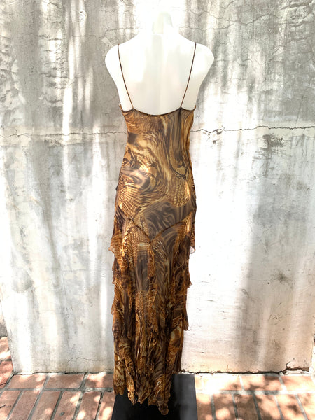 ANIMAL PRINT GOWN IN GOLDEN BROWNS