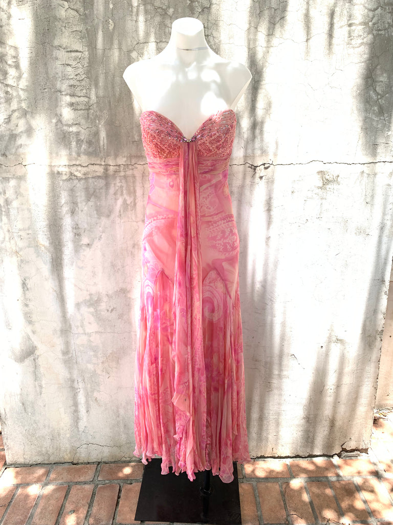 PINK STRAPLESS PAISLEY PRINT GOWN
