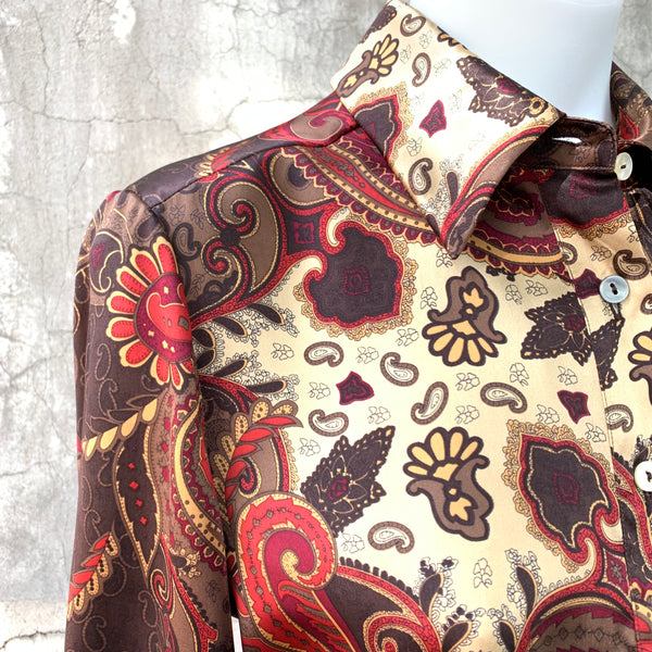 PAISLEY PRINT BLOUSE IN GOLDEN BROWNS