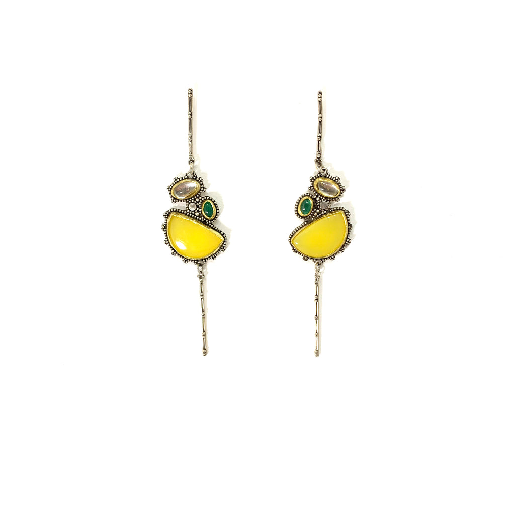 GRANULATED EARRINGS WITH CHALCEDONY