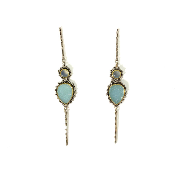 GRANULATED EARRING AQUAMARINE DRUSY WITH SMALL AQUAMARINE STONE