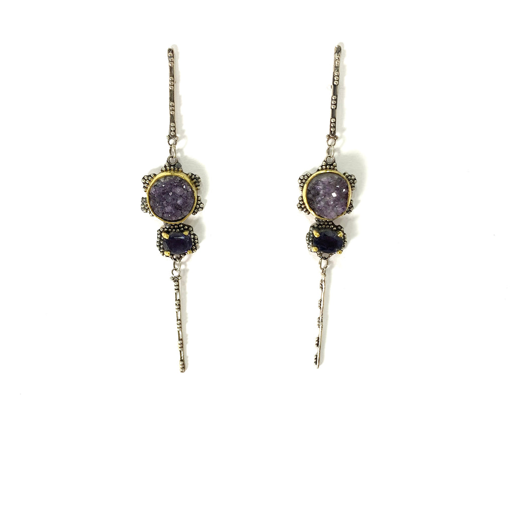 GRANULATED EARRING WITH AMETHYST DRUZY AND IOLITE STONES