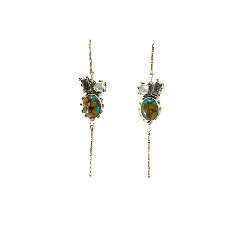 GRANULATED EARRING WITH AQUAMARINE, BLACK DRUZY AND TURQUOISE