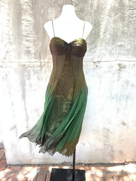 GREEN OMBRE MIDI DRESS BY DIANE FREIS