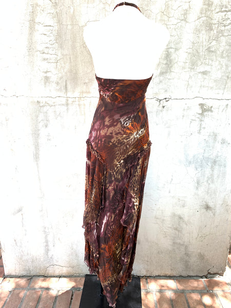 ANIMAL PRINT HALTER GOWN BY DIANE FREIS
