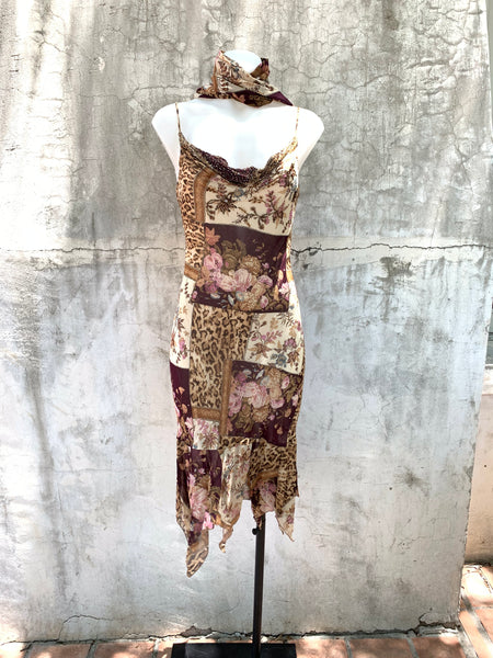 PATCHWORK AND ANIMAL PRINT KNEE LENGTH DRESS BY DIANE FREIS