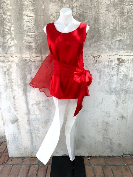 RED TAYLOR TANK IN TISSUE SILK ORGANZA AND SILK SATIN