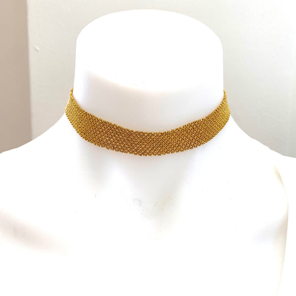 GOLDEN GLASS BEAD CHOKER