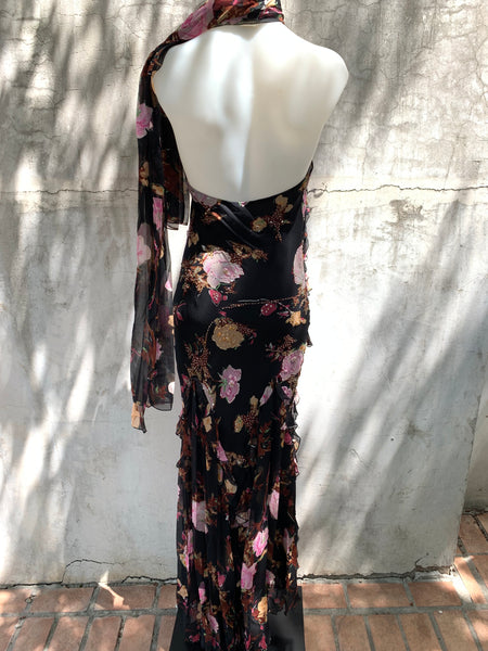 ROSE PRINT DRESS WITH SPAGHETTI STRAP HALTER