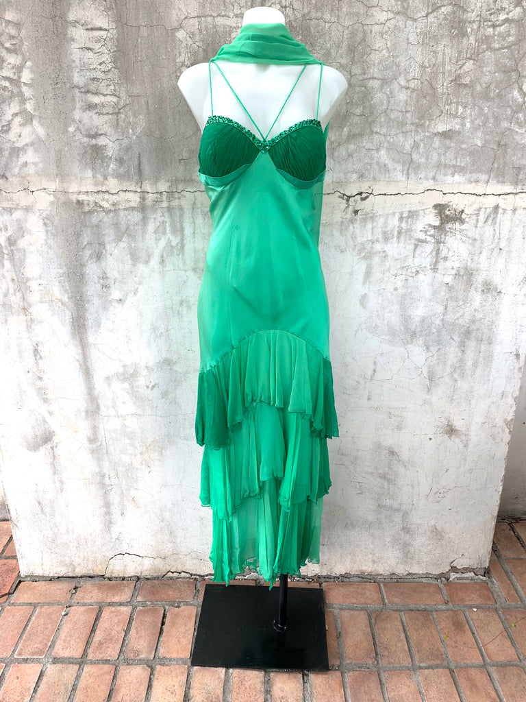 SHERBERT GREEN DRESS WITH CRISSCROSS SPAGHETTI STRAPS