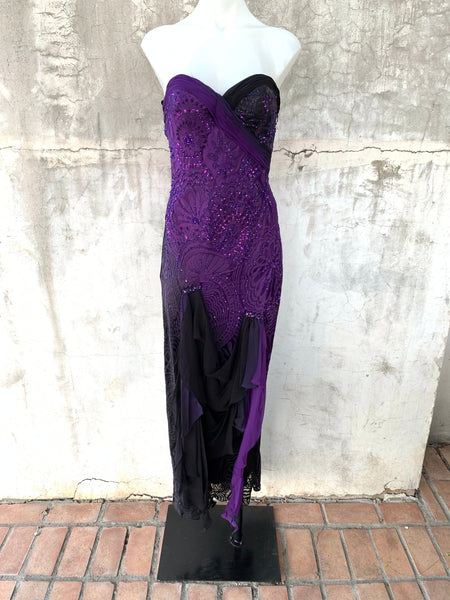 PURPLE STRAPLESS DRESS WITH BLACK SKIRT EMBELLISHMENT