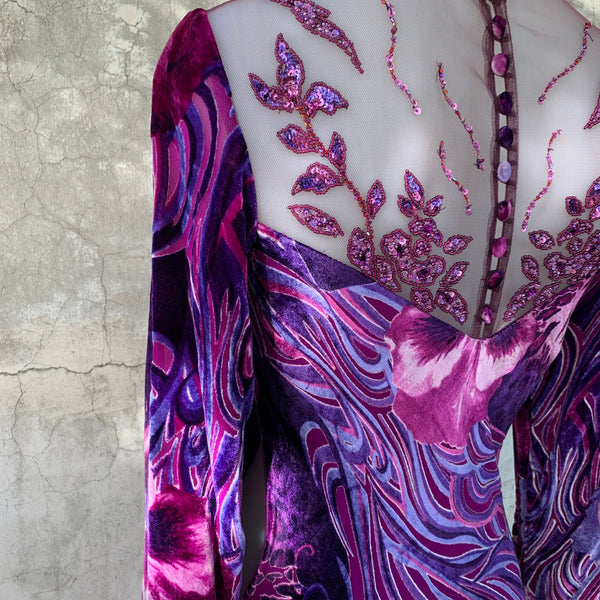 LONG SLEEVED PURPLE GOWN WITH SHEER, EMBELLISHED BODIE