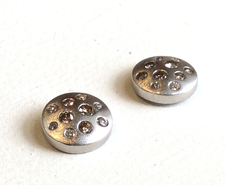 STERLING BUTTON EARRING STUDS WITH SCATTERED DIAMONDS