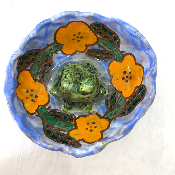 GREEN FROG AMIDST ORANGE FLOWERS BOWL