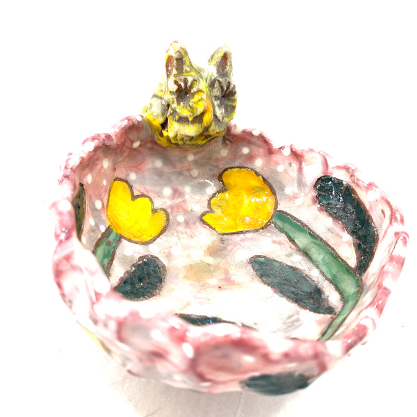 YELLOW OWL AND TULIPS ON PINK BOWL