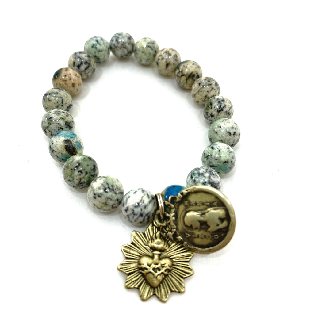 GREEN JASPER BEAD BRACELET WITH TWO MEDALLIONS