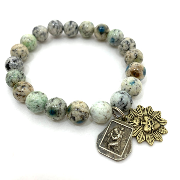 GREEN JASPER BEADED BRACELET WITH ST CHRISTOPHER