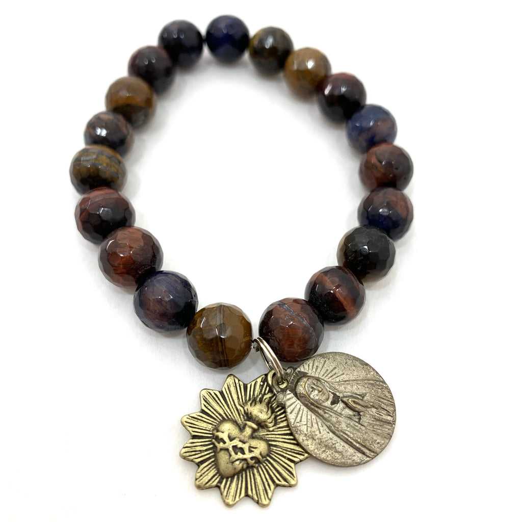 MULTI COLORED TIGERS EYE WITH MARY AND JESUS MEDALLION AND SACRED HEART MEDALLION