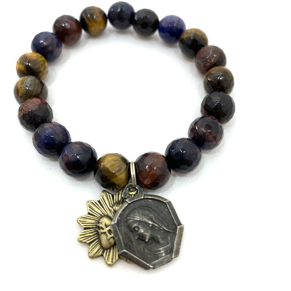 MULTI COLORED TIGERS EYE WITH VINTAGE MARY AND APPARITION MEDAL AND SACRED HEART MEDAL