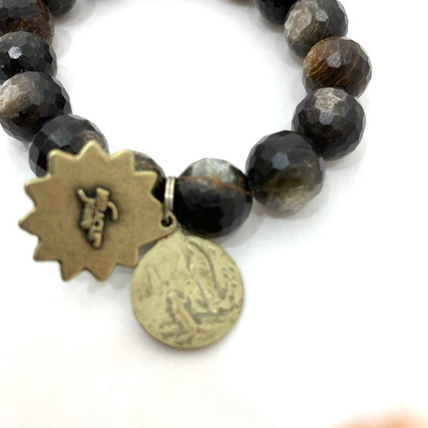 GOLDEN MICA BEADS WITH MARY AND THE APPARITION AND SACRED HEART MEDALLIONS