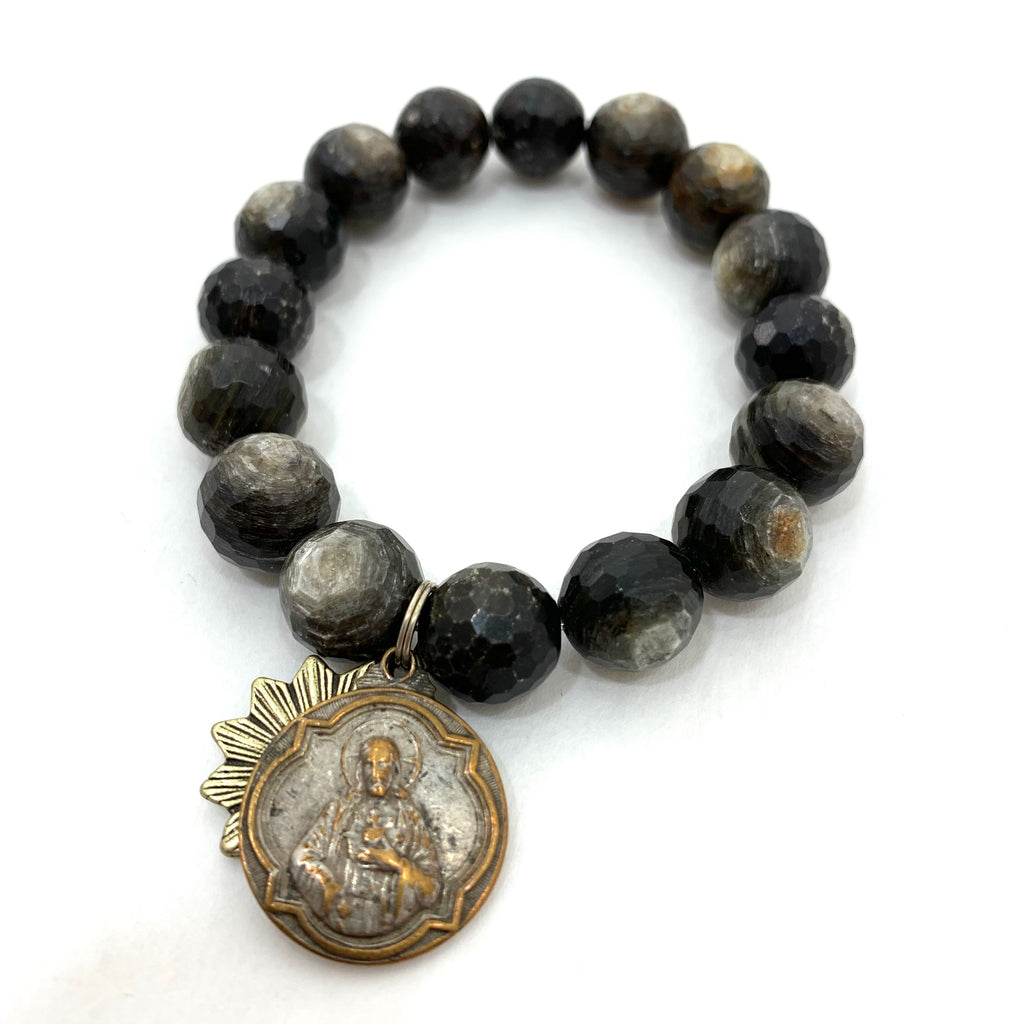 GOLDEN MICA BEADED BRACELET WITH JESUS AND SACRED HEART MEDALLIONS
