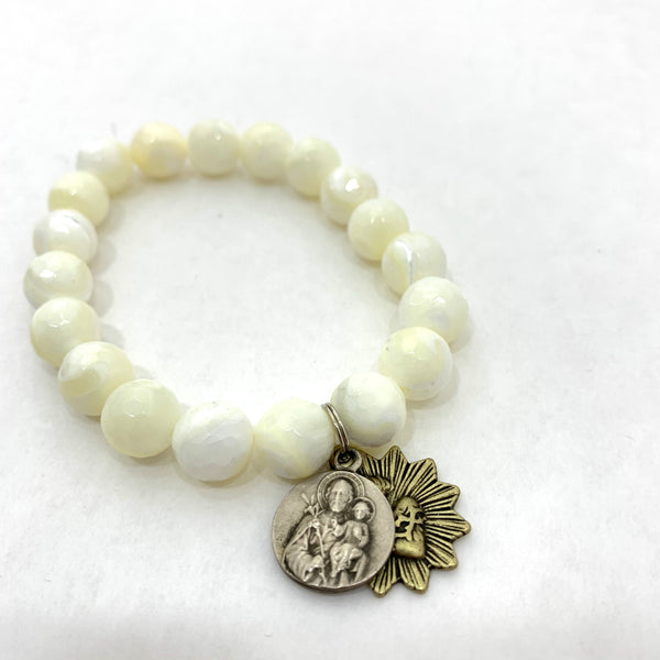 BEADED MOTHER OF PEARL BRACELET WITH ST ANTHONY AND SACRED HEART MEDALLIONS