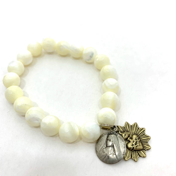 MOTHER OF PEARL BEADED BRACELET WITH ST. THERESA AND SACRED HEART MEDALLIONS