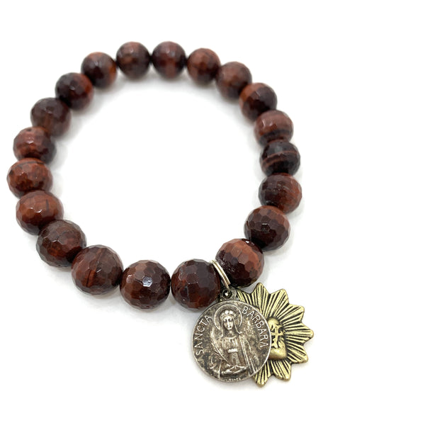 RED TIGERS EYE BEADED BRACELET WITH ST. BARBARA AND SACRED HEART