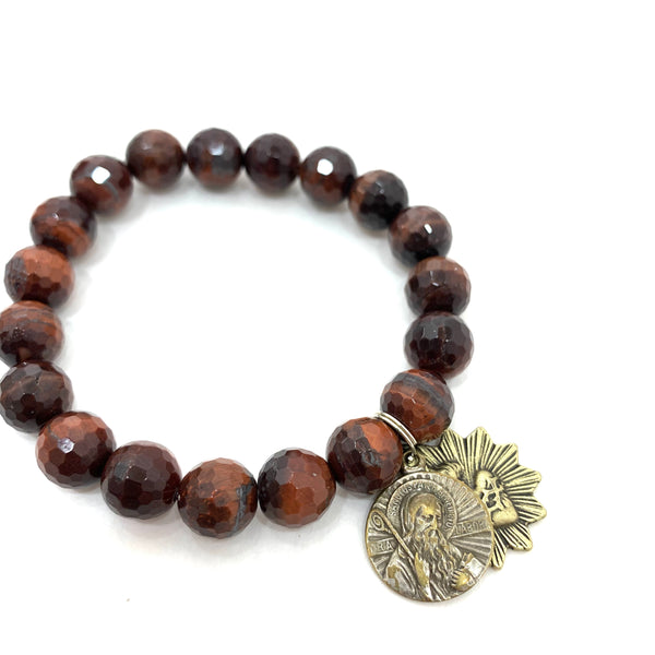 RED TIGERS EYE BEADED BRACELET WITH ST BENEDICT AND SACRED HEART