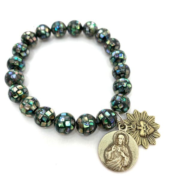 ABALONE SHELL BEAD BRACELET WITH CHRIST AND SACRED HEART MEDALLIONS