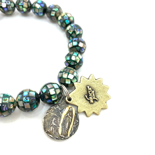 ABALONE SHELL BEADED BRACELET WITH MARY AND SACRED HEART MEDALLIONS