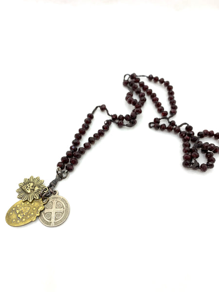 GARNET ROSARY STYLE NECKLACE WITH ST BENEDICT, MARY AND SACRED HEART MEDALLIONS