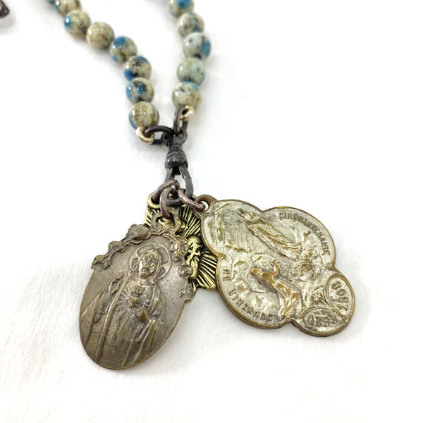 BLUE AND WHITE JASPER BEAD ROSARY STYLE NECKLACE WITH CHRIST, THE APPARITION AND SACRED HEART MEDALLIONS
