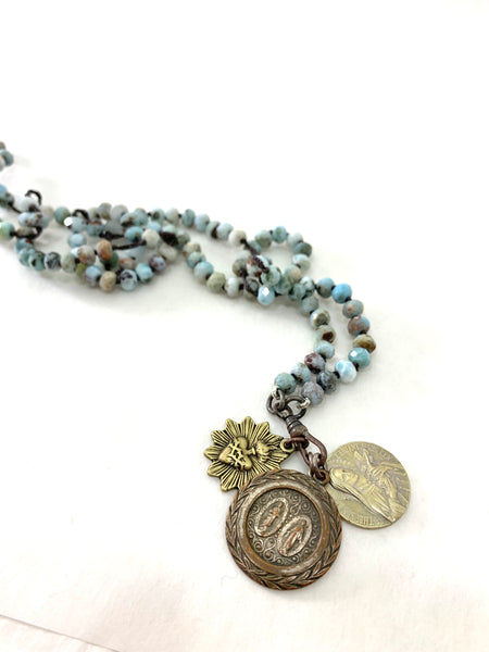 LARIMAR BEAD ROSARY STYLE NECKLACE WITH JESUS & MARY, ST THERESA AND SACRED HEART MEDALLIONS
