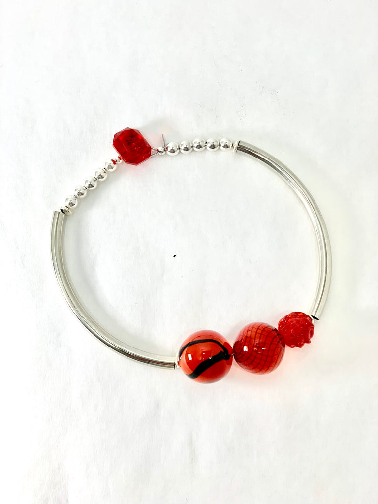 RED MURANO GLASS BEAD NECKLACE