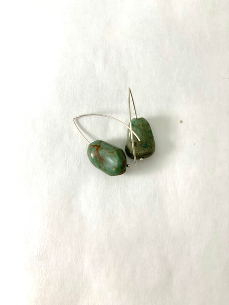 TINY TIBETAN TURQUOISE BOULDER EARRINGS