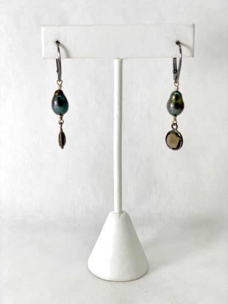 OLIVE COLOR FRESHWATER PEARL EARRINGS WITH SMOKY QUARTZ DROPS