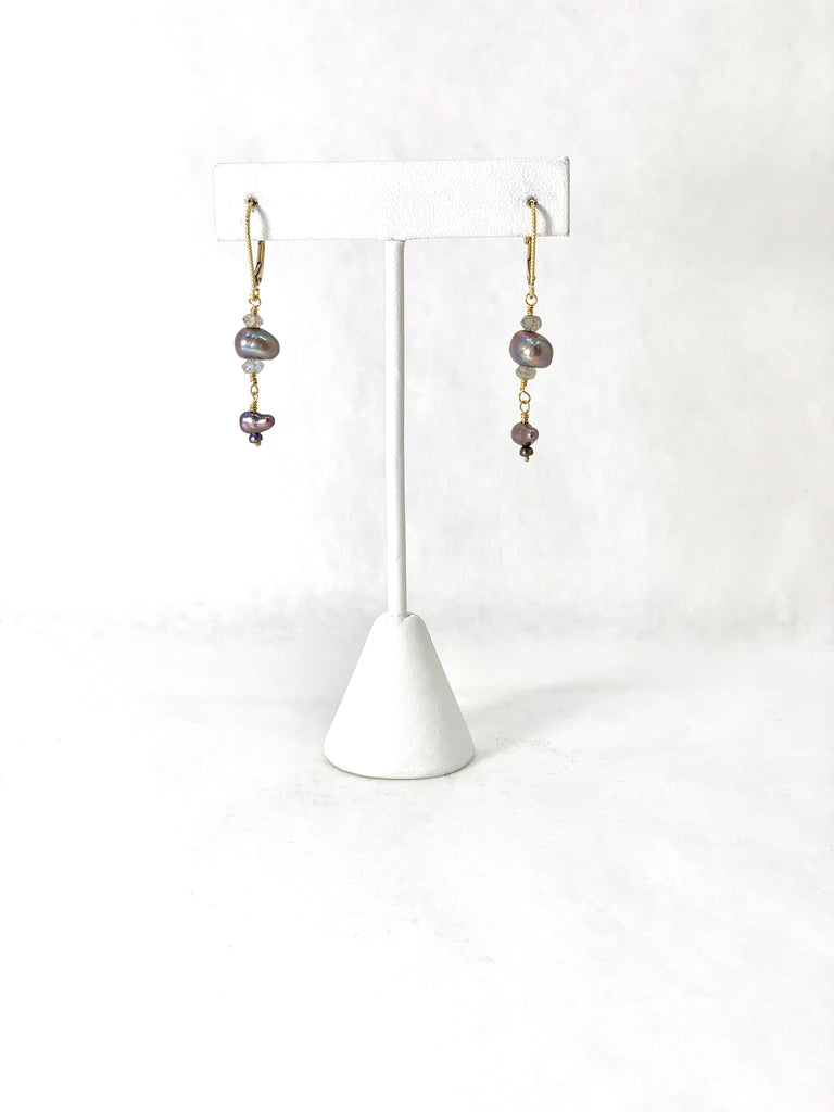 GREY PEARL AND LABRADORITE BEAD EARRINGS