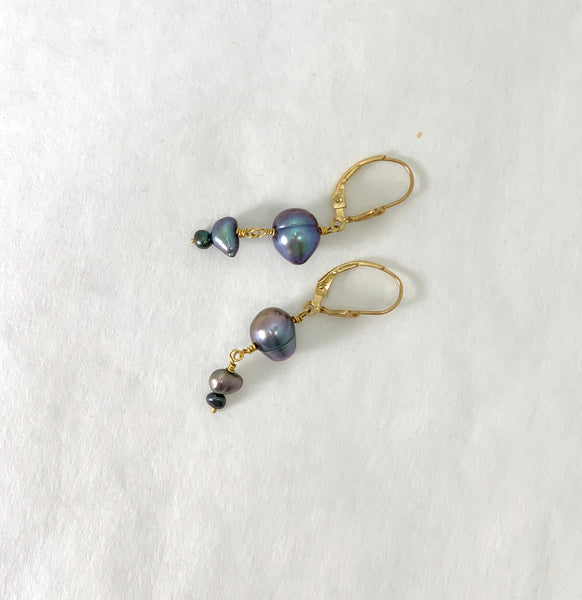 BLUE AND GREY FRESHWATER PEARL EARRINGS
